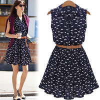 2014  New Summer women's  Fashion cat one-piece dress,Women's clothing Pinched Waist dress 7107