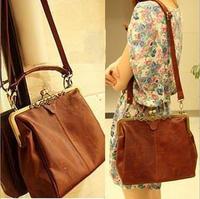 2014 High Quality PU Womens Classic retro casual Spanish style single shoulder bag ladies Elegant Coffe Brown  handbags Hotsale