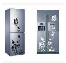 Free shipping! Refrigerator stickers stickers creative refrigerator refrigerator decoration of butterfly on the flowers(China (Mainland))