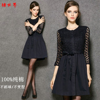 Crochet lace one-piece dress expansion  vintage fluid sheds women's