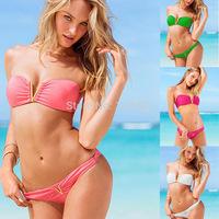 2015 Promotion V bikini  Women's triangl style Swimwears Bikinis push up swim suit Neoprene Bikinis  Free Shipping