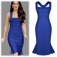 New 2014 fashion Sexy Women Celebrity bodycon dress Racerback Knee-length Ruffle Peplum Evening Party dress Plus size Blue color