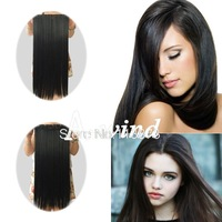 Free shipping 2014 New 24inch 60cm Long Straight clip in hair extensions Synthetic hair piece women's hair fashion black