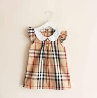 Wholesale - free shipping children's wear in the summer Girls dress Pure cotton lattice lapel princess dress