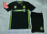 A+++ 2014 world cup Spain away Black soccer jerseys Player Version Football shirts Custom Jerseys Shorts