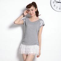Paillette Twinset Short-sleeve Dress Slim 2014 Summer O-neck