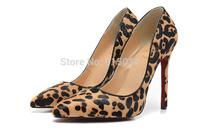 Free shipping 12cm leopard high heels women pumps dropshipping red bottom high heels
