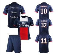 A+++ 2014 PSG Home Blue Soccer Jersey Sets Player Version Thai Paris St German Saint Shorts Football Pants Custom Official Font