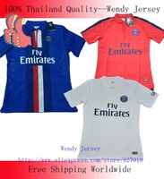 A+++ Top Thailand 2014 New France Paris Saint German Cavani PSG Player Version Football Jersey Soccer Kit
