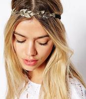 New british style romantic rhinestone leaves decoration elastic hair bands hair accessory headband