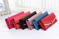Pretty Women's Soft Leather Bowknot Clutch Wallet Long PU ID Card Purse Handbag 5pcs