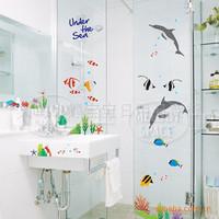 Wholesale Cartoon DIY PVC wall stickers for children undersea background decorative stickers  bathroom waterproof wall stickers