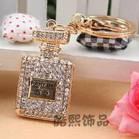 Fashion Accessories Rhinestone Perfume Bottle Keychain Key Chain Bag Buckle Girlfriend Gifts