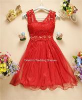 8398040 spring new sweet princess dress  2014 coral dress