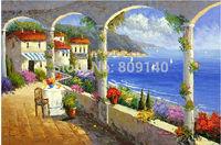 Mediterranean Garden oil painting canvas Floral Arch Sea handmade Home Living Room Hotel Office wall art decor Artwork free ship