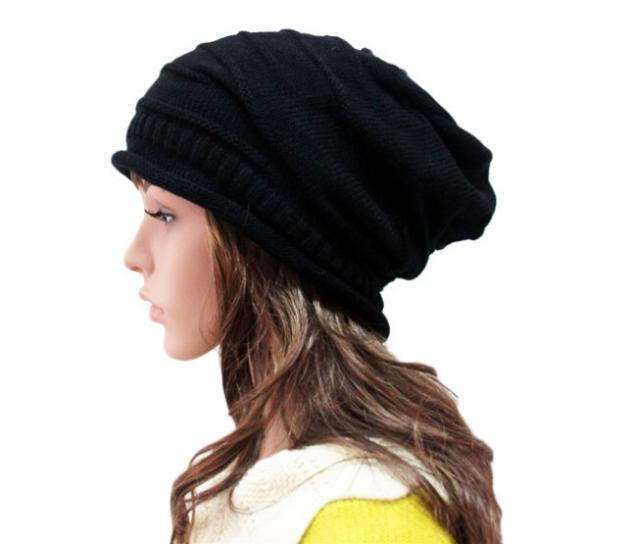 Hot Sell! 2014 Winter Hats Wrinkled Piles Cap Women Beanies Woolen Knitted Hat Hip-Hop Hat Free Shipping(China (Mainland))