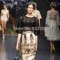 Free Shipping 2014 Spring New Women Runway Fashion Ruslana Lace Designer Golden Vintage Print 2 Pieces Bohemian Dress,S-XL,12023