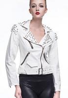 White Oblique zipper PU leather jacket women slim street motorcycle faux leather jackets coat womens female fashion outerwear