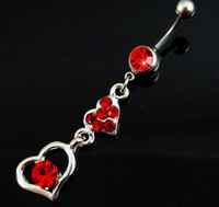 BJ0058 1PC/Lot Free Shipping cute rhinestone surgical steel red heart pircing belly ring