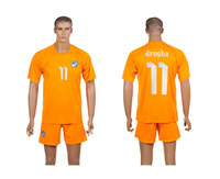 Free Shipping 2014 World Cup Cote D'Ivoire #11 Drogba Orange Soccer jersey+Shorts