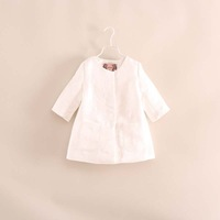 2014 autumn hot sale little girl princess three quarter sleeve white flower trench coat jackets 2-8 years