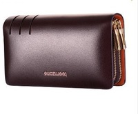 2014 Teemzone HOT 3308/3309/3310 High Quality Double zipper men handbag cowhide genuine leather Business man day clutch bag