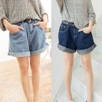 Free Shipping 2014 Summer Vintage Roll-Up Hem High Waisted Denim Shorts Jeans Female Casual All-Match Loose Plus Size Jeans