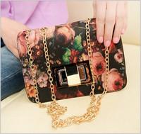 2014 Hot-selling fashion pu ladies messenger bag purse tote small vintage oil painting women cross-body  messenger bag small bag