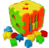 2014 New Year's Toys Plastic Model Building Kits 10 Shapes Blocks Educational Toys For Children 2 Years Christmas Present HA0013
