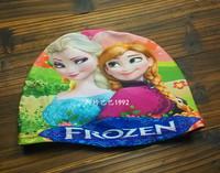 2014 New Frozen Elastic Children Swim Cap 19*14 cm Free Size Swimming Cap Bathing Cap Free Shipping