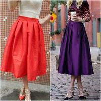 Retro Stylish Female High Waist Ball Gown Skirts Fashion Saias Femininas Vintage Women Long Skirt 3428