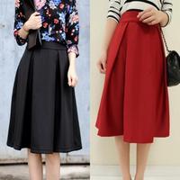 Hot New Vintage Pleating Ladies Long Skirt High Waist Slim Saia Feminino Retro Knee Length Skirt S M L 3332