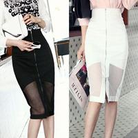 Korean Style High Waisted Pencil Skirt Slim Front Zipper Design Package Hip Knee Length Skirt Saias Black White 3429