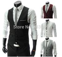 Free Shipping 2014 New Arrival men Jacket Suit Slim Fit Fashion Vest Casual Business Tops suits vest waistcoat