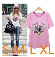 YHM1241  New Fashion Women T-Shirt White Black Cotton O Neck  PaillettePlus Size Casual Shirt
