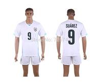 #9 SUAREZ Uruguay Away Jersey 2014 World Cup higt Quality SUAREZ Jerseys 2014 Uruguay White Away Jersey Free Shipping
