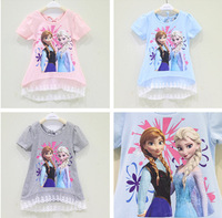 2014 New Girls Frozen tops kids t-shirt cartoon summer tops girl's princess tees pink/blue/grey in stock,2-7yrs children clothes