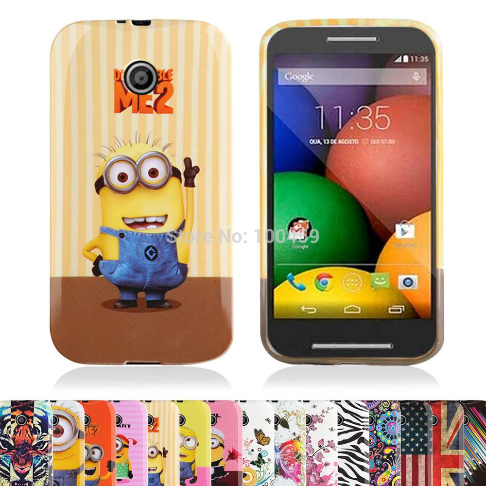 Fashion Pattern Colourful gel TPU case for Motorola Moto E with free screen and stylus(China (Mainland))