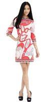 Fashion brief sweet print knit dress slim gentlewomen elastic one-piece dress