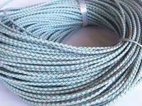 Free ship!!! High quality natural 3mm light blue braided geunine leather cord 50meters/roll MN-2109