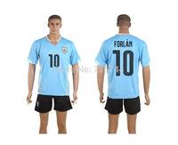 Higt Quality Uruguay Forlan 10# 2014 Home Soccer Jersey Sports Shirt Football Wear Sports T Shirt+shorts Free Shipping