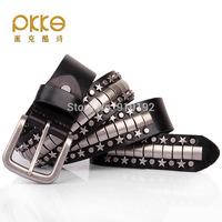 Personality rivet punk leather belt pentagram rock hip belts