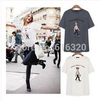 YHM1208  Women Fashion T Shirt  White Gray Short Sleeve Cotton Summer Clothes Plus Size Casual Shirt