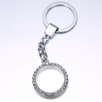 2014 New arrival high quality 25mm Rhinestone + glass locket keychains 5 pcs/lot  promotion