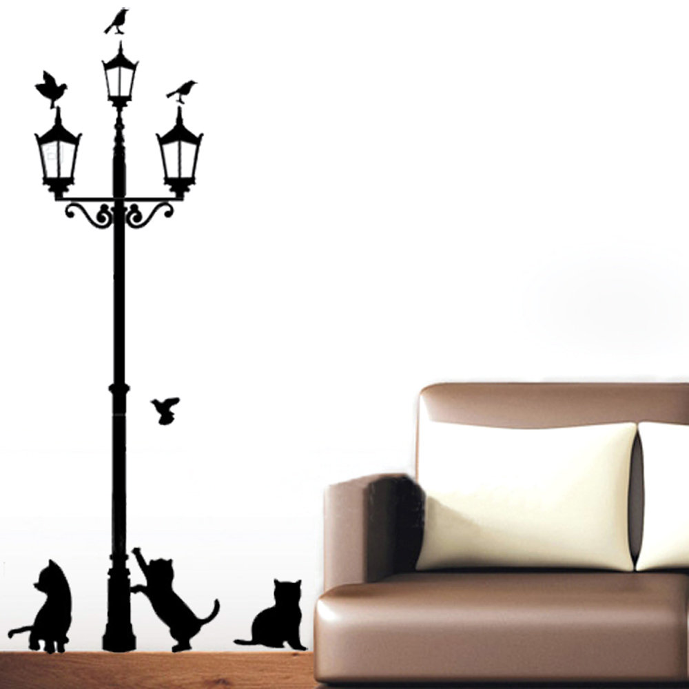 Home Decoration 3 Little Cat under Street Lamp DIY Wall Sticker Wallpaper Art Decor Mural Room Decal Adesivo De Parede Stickers(China (Mainland))