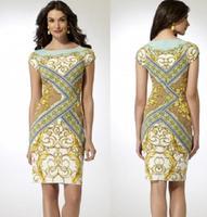 2014 women's beautiful gold phoeni print elegant slim brief elastic knitted one-piece dress