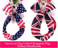 American Flag & United Kingdom Turban Headband, Bowknot Rabbit Ear Hair Bands for headwear Free Shipping 12PCS