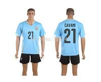 2014 CAVANI 21 Uruguay Home jersey best quality uruguay Home soccer Jersey+shorts Free ship