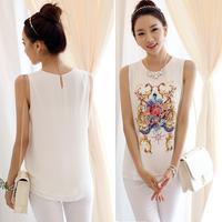 Sleeveless Flower Print Tops Chiffon Blouse 2014 Women Ladies Summer Big Plus Size Women Clothing XXL Blusas Femininas Blouses