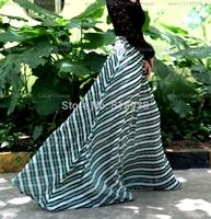 2014 summer new women's vintage fashion green striped maxi long skirts floor length casual beach pleated brand chiffon skirt hot
